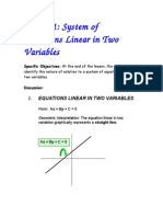 System of Equations Linear in Two Variables