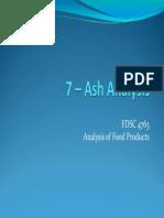 FDSC 4763 Ch 7 - Ash Analysis
