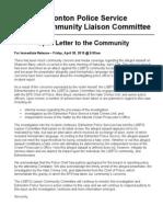 Edmonton Police Services Liaison Letter