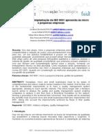 Benefícios que a implantação da ISO 9001 apresenta às micro e pequenas empresas