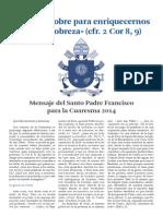 Mensaje Cuaresma Papa 2014