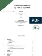 YER Millard Creek Headwaters Springs and Seeps Report 2013