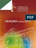 Memoria Anual del Tribunal Supremo de Justicia del Estad Plurinacional de Bolivia, 2012