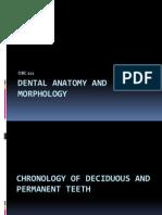 Dental Anatomy and Morphology Chronology