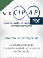 La oferta estatal de institucionalidad participativa en Colombia.