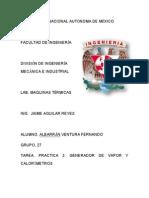PRACTICA 2. GENERADOR DE VAPOR Y CALORÍMETROS