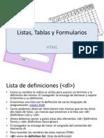 Listas Tablas Formularios
