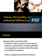 Values, Personality, And Individual Differences