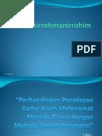 Perbandingan Penetapan Kadar Asam Mefenamat Metoda Titrasi Dengan Metoda Spektrofotometri