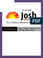 Question Papers Sample Papers Solved Common Admission Test (CAT) 2001 Question Paper