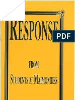 Response from Students at Maimonides
