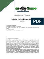 Ortega Y Gasset, Jose - Mision de La Universidad