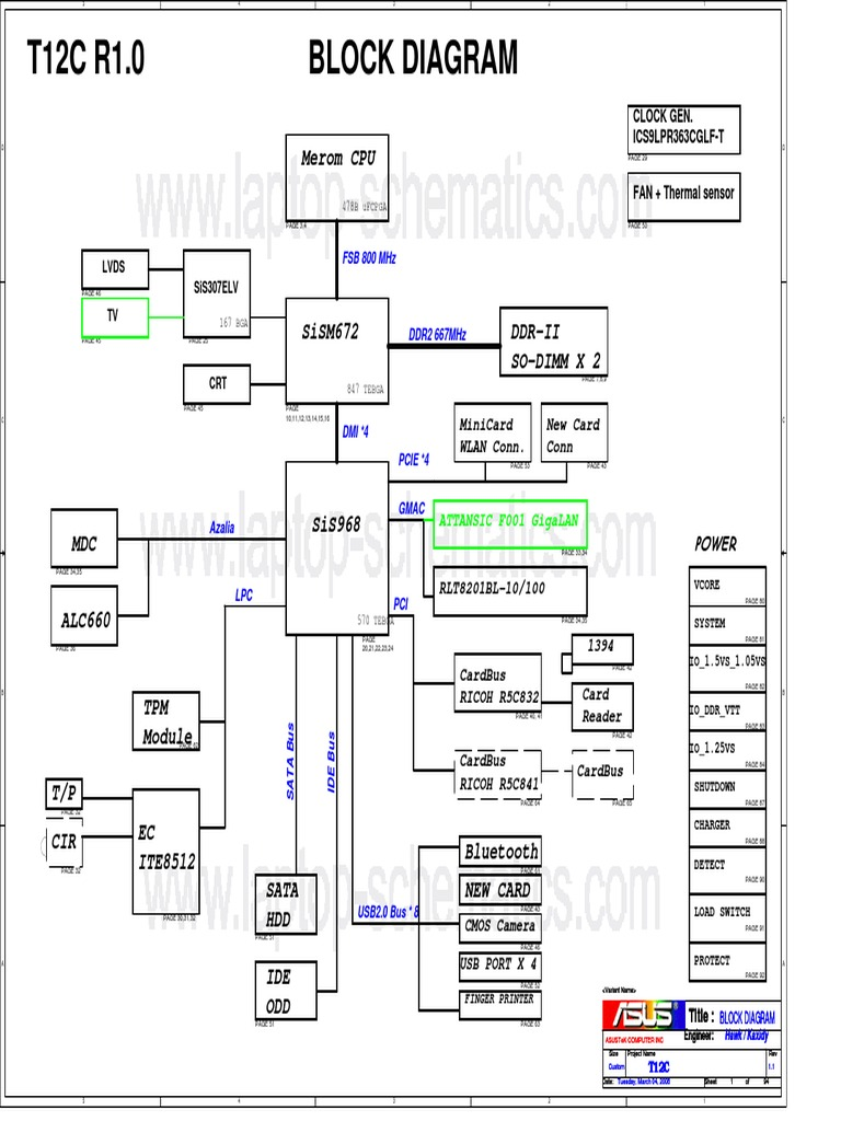 Asus T12c  X51c  Motherboard Schematic Diagram