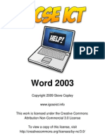 Word 2003 for IGCSE ICT