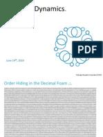 Hydrogen Dynamics - Numeric Fields