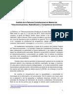 Análisis de la Reforma Constitucional en Materia de Telecomunicaciones
