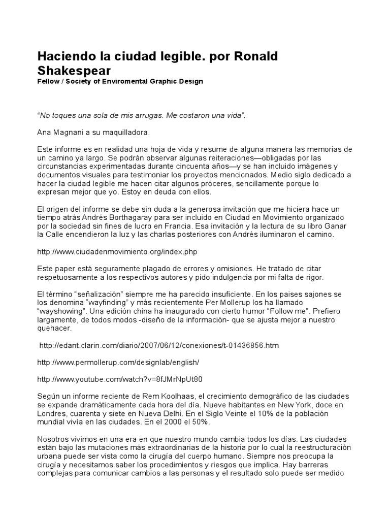 Ciudad Legible de Shakespear   PDF   Transporte   Aluminio