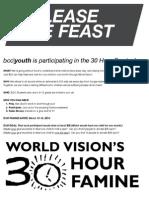 30 Hour Famine Welcome Letter:Registration