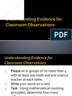 evidence for classroom observations