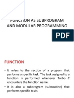 Function as Subprogram and Modular Programming