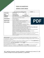 Prueba Diagnóstico Química Cuarto