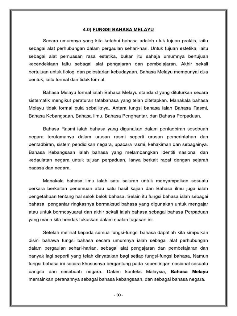 Fungsi Bahasa Melayu Bmk Kkbi