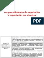 Los procedimientos de exportación e importación por vía