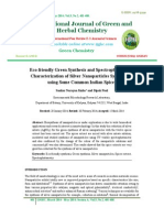 Eco-friendly Green Synthesis and Spectrophotometric Characterization of Silver Nanoparticles Synthesized using Some Common Indian Spices