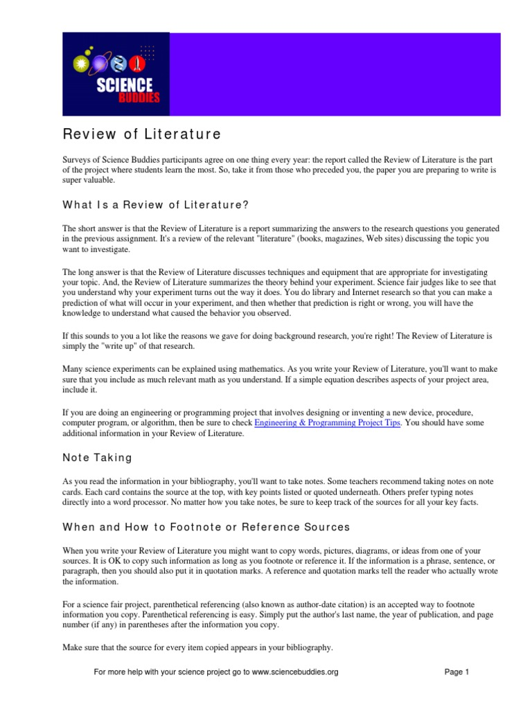 review of literature science fair