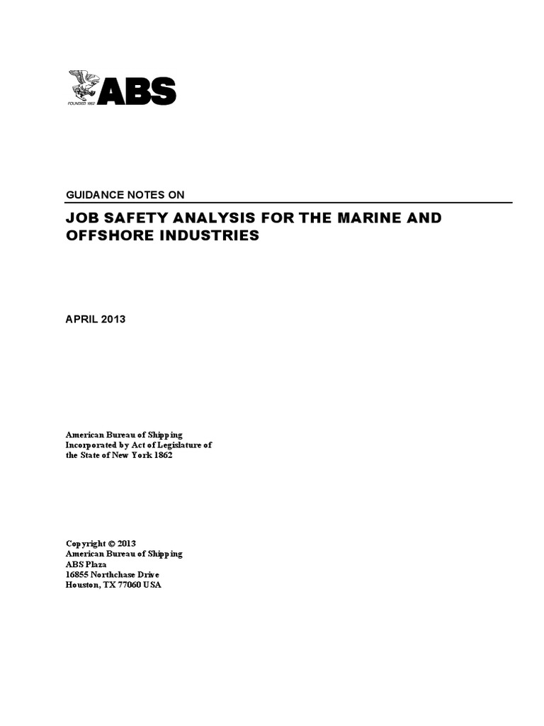 JSA for Offshore Safety   Occupational Safety And Health   Risk