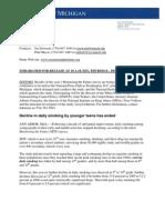 Alberto Gonzales Files - press release 2006 tobacco withletterhead final doc monitoringthefuture org-06cigpr