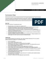 Academic Careers Curriculum Vitae tips