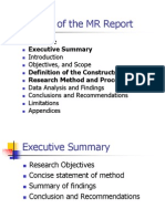 Format of the MR Report