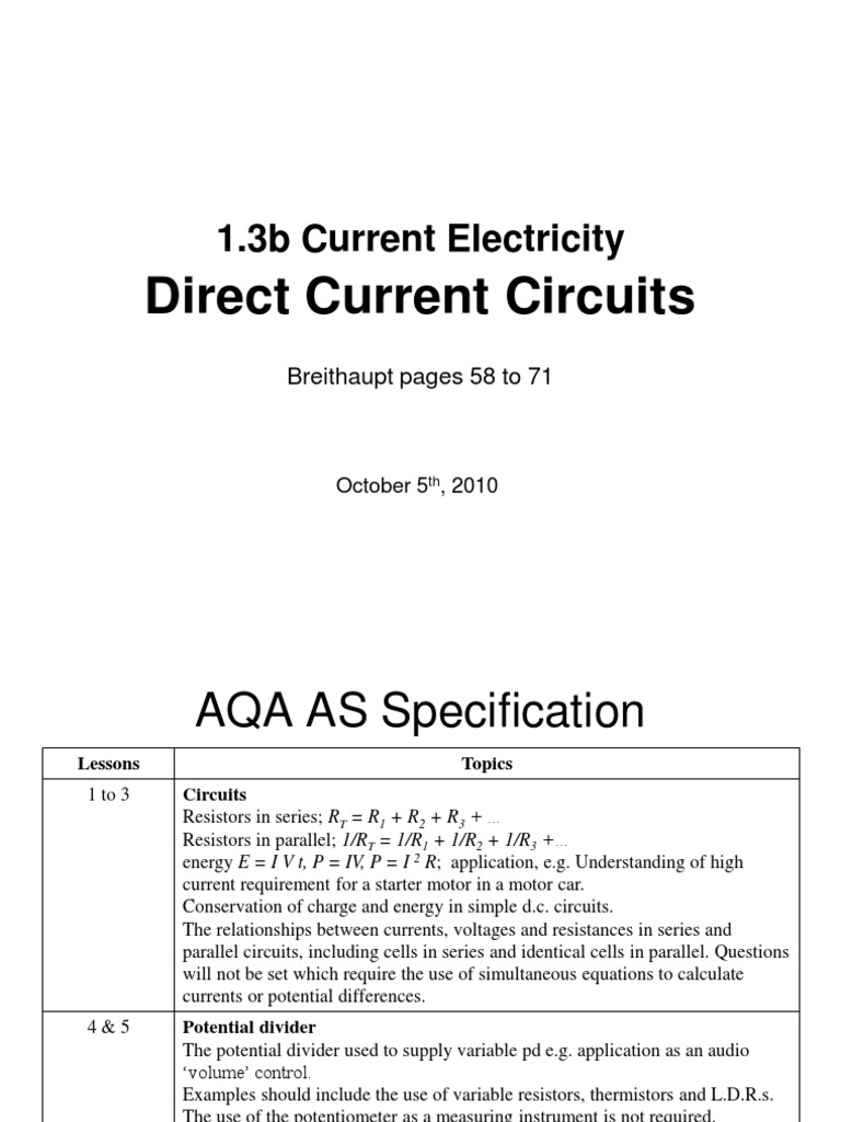 As 13b Directcurrentcircuits Series And Parallel Circuits The Voltages Across Components In A Circuit Gcse Science Electric Current