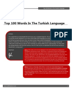 Top 100 Words in Turkish