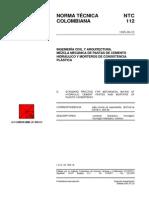 NTC 112 Mezcla mecánica de pastas de cemento hidráulico y morteros de consistencia plástica