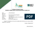 Formulir Pendaftaran Ebtke Conex 2013