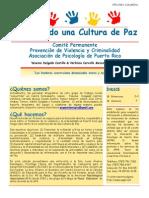 Cultura de Paz- Boletin Enero 2014