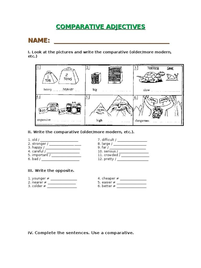 Workbooks identifying adjectives worksheets : Comparative Adjectives Worksheets 3rd Grade | Prephockey.org