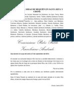 INVITACIÓN A MISAS DE REQUIÉN EN SANTA RITA Y CHONE