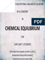 CAPE Unit 1 Chemistry Equilibrium Constant Based on Stoichiometry