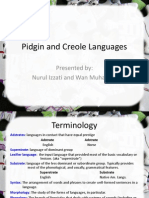 Sociolinguistics - Pidgin and Creole Languages