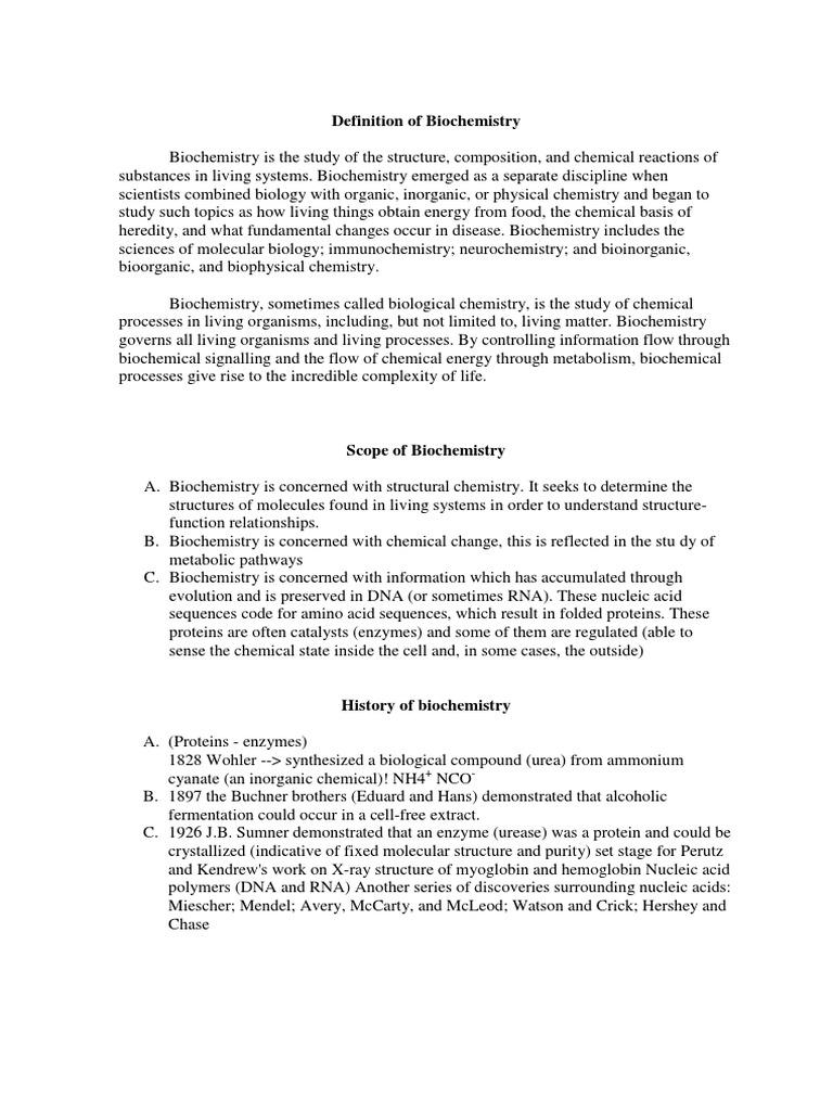 Scope of Biochemistry | Biochemistry | Proteins