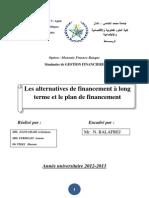 altérnatives de financement et plan de financement