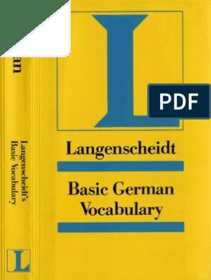 Langenscheidt Basic German Vocabulary German Language Vocabulary