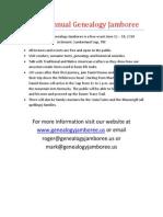 The 4th Annual Genealogy Jamboree