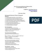 Environmental Education Syllabus in B.Ed. of 11 Indian Universities