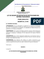 Decreto  53 - 2001  Ley  de  Seguro  de  Depósitos en  Instituciones  del  Sistema  Financiero_