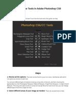 How to Use Adobe Photoshop CS6 Tools