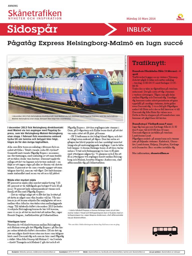 140310 Pågatåg Express Helsingborg Malmö En Lugn Succé